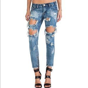 One Teaspoon Trashed Free Bird Jeans Size 25
